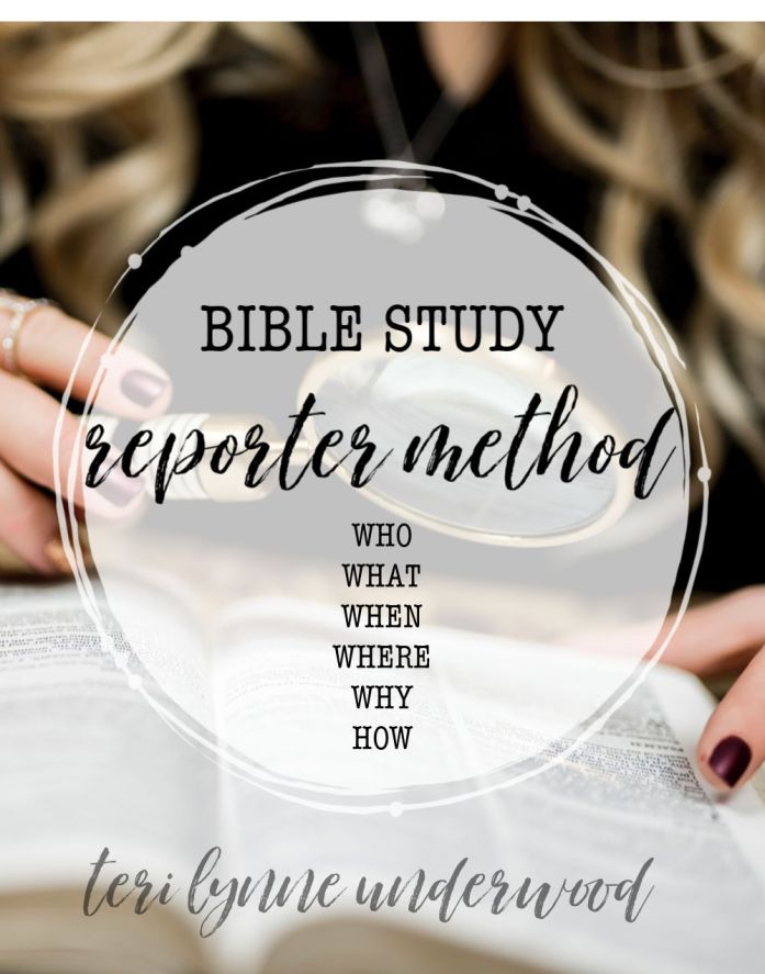 Simple Bible Study Methods — Reporter Method.  Those same basic questions we asked for our fifth-grade reports, are useful as we begin studying new passages of Scripture. Questions like who, what, when, where, why, and how can help us gain a great deal of understanding about the author, audience, context, and purpose of Scripture.