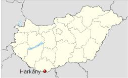 Poloha města Harkány v rámci Maďarska