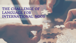 The challenge of languages for international NGOs