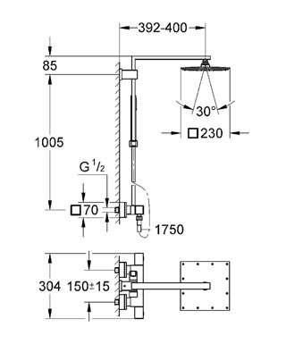 GROHE EUPHORIA CUBE SYSTEM 230 system prysznicowy