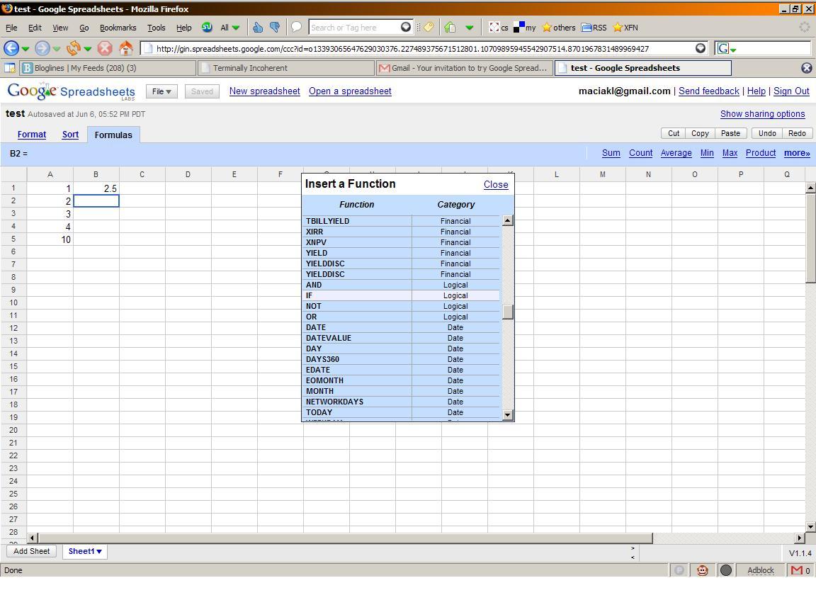 Testing Google Spreadsheet | Terminally Incoherent