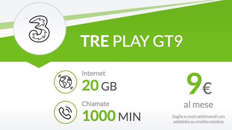 Offerte Tre mobile 20 GB e 1000 minuti a 9 in scadenza a gennaio