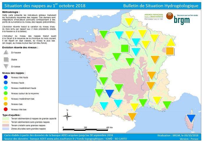 État des nappes phréatiques en France au 1er octobre 2018