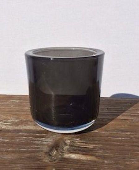 Teelichtglas schwarz  Terracotta Deko
