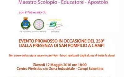 """Giovedì 12 maggio la premiazione 1° concorso """"Premio San Pompilio"""""""