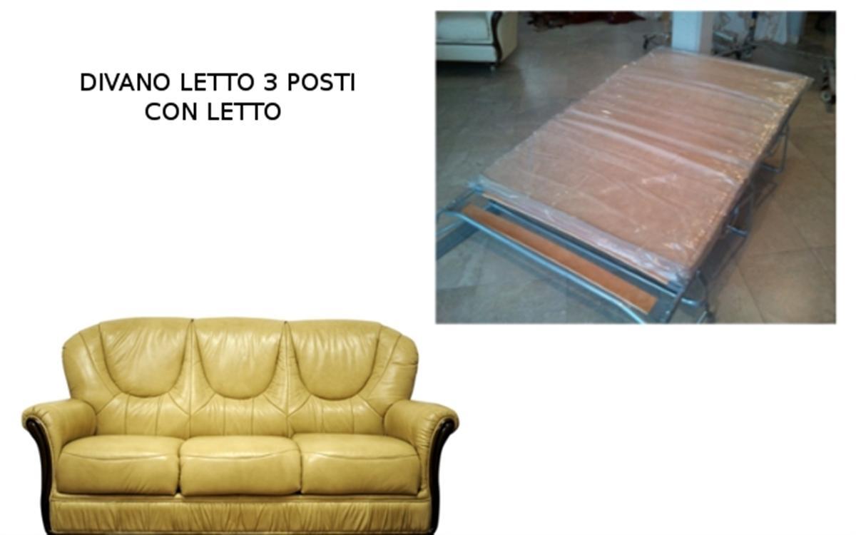 Divano Letto Classico Scorniciato 3 Posti cm 185x90 h cm 98 in Vera Pelle