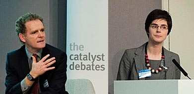Matthew Spencer and Chloe Smith MP at the Green Alliance Catalyst Debate