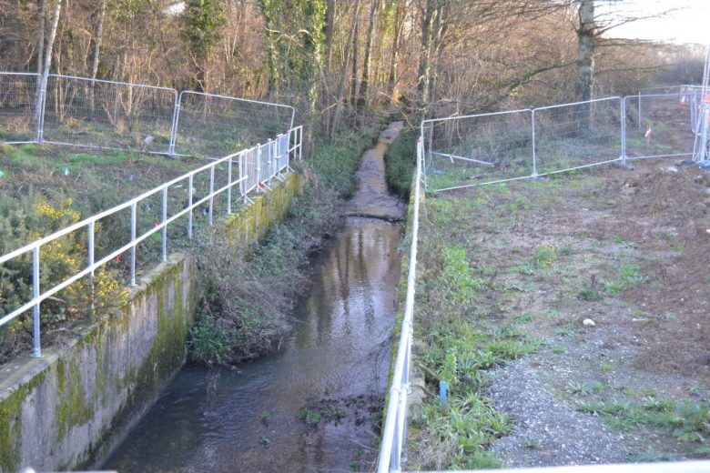 Hermitage Stream 'before' photo:  all concrete and steel!