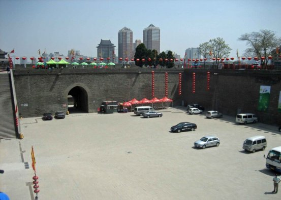 Parking-below-the-old Ming City Wall , Xian, Shaanxi