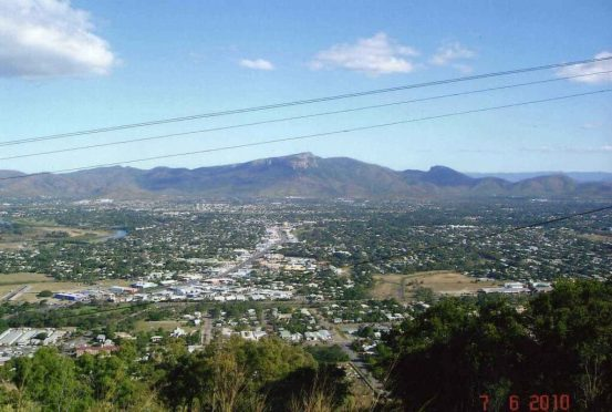 Castle Hill-Lookout-View of Townsville across to-Harvey's Range