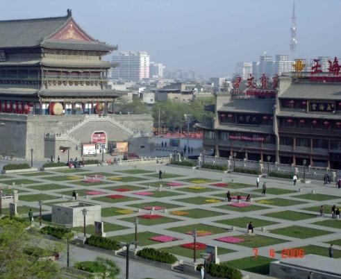 Xian City view of Drum Tower and garden square from our room at Bell Tower Hotel