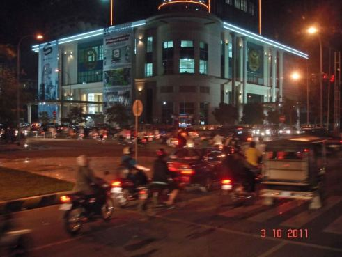 Night-view-Phnom-Penh traffic and OCIC Building,first high rise in the city.