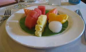 Lotus Blanc Practice Restaurant. Fresh fruit is traditionally served as a dessert in Cambodia