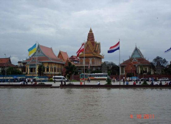 Mekong Cruise - view from the river of  Wat Ounalom Buddhist Sanctuary