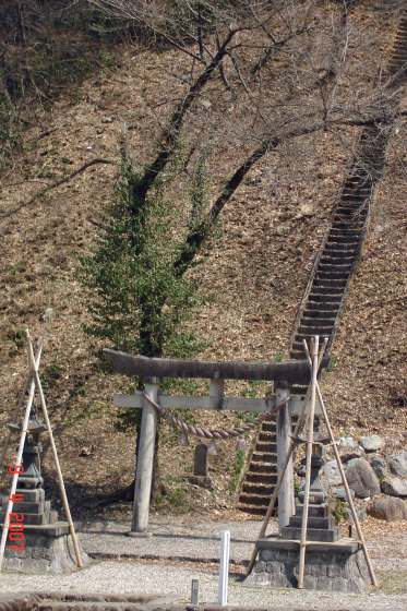 Toyama Farmhouse-Torii-Gate-steps to hill-top shrine