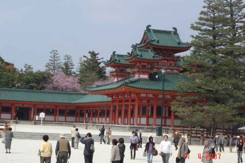 Replica of Royal Palace of old Kyoto. Heian Jingu Shrine-Corner Palace (Sōryūrō)