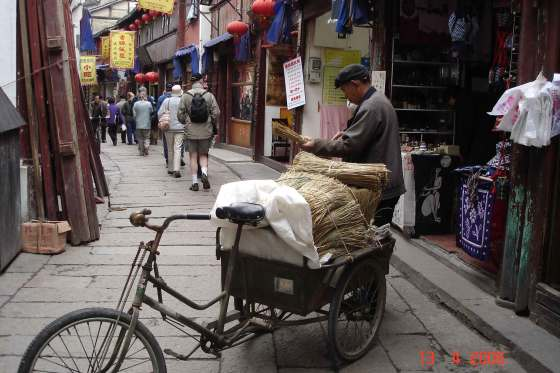 North Street-Man with a barrow of stray-Ancient Water Town Zhujiajiao