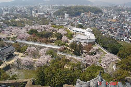 View from Main Tower across West Bailey- Himeji city