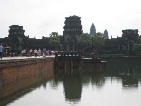 Outer causeway - main gates and temple spires Angkor Wat