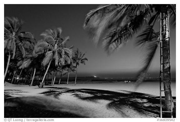 Miramar Beach at twilight. Goa, India (black and white)