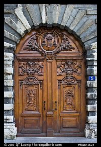 Picture/Photo: Historic wooden door. Lyon, France