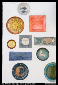 Picture/Photo: Ceramic plates decorating a wall ...
