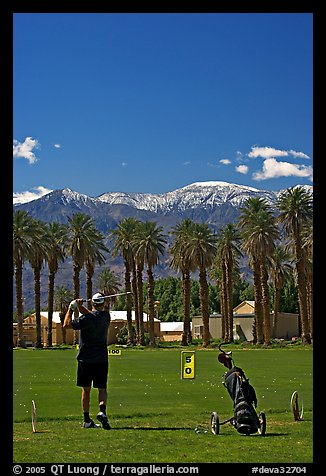 Picture/Photo: Golfer in Furnace Creek Golf course. Death