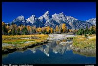 Picture/Photo: Grand Teton and fall colors reflected at ...
