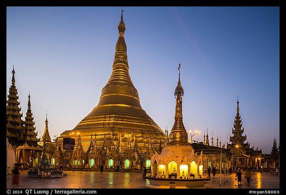 PicturePhoto Shwedagon Pagoda Gold Covered Stupa At Dawn