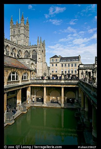 PicturePhoto Great Bath Roman building with Abbey in