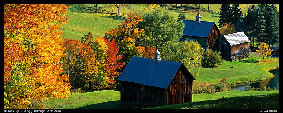 Fall New England Wallpaper Panoramic Picture Photo Pastoral Barn Scenery In Autumn