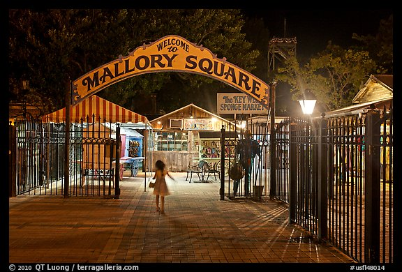 PicturePhoto Mallory Square shops at night Key West Florida USA