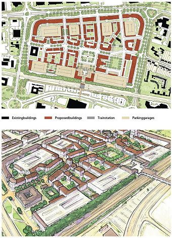 Top: Transit-oriented urban core with a new square framing the train station.  Bottom: Final stage of greyfield repair with parking lot developed and buildings replaced.