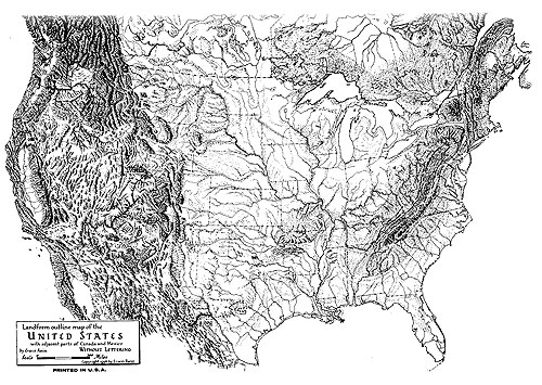 Erwin Raisz's Landforms Map of the U.S., 1954