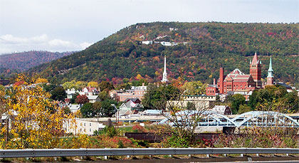 The Cumberland, Maryland, skyline in autumn.