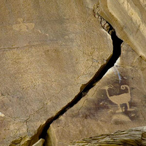 Petroglyph featuring a ram and the mythic eagle Knife Wing. Photo by David Rintoul.