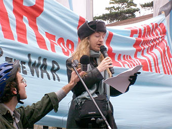 Rebecca Solnit participates in a Words Against War Read-Out, protesting the 5th anniversary of the U.S. invasion of Iraq, in March 2008 in San Francisco. Photo by Jen Angel, courtesy Aid & Abet.