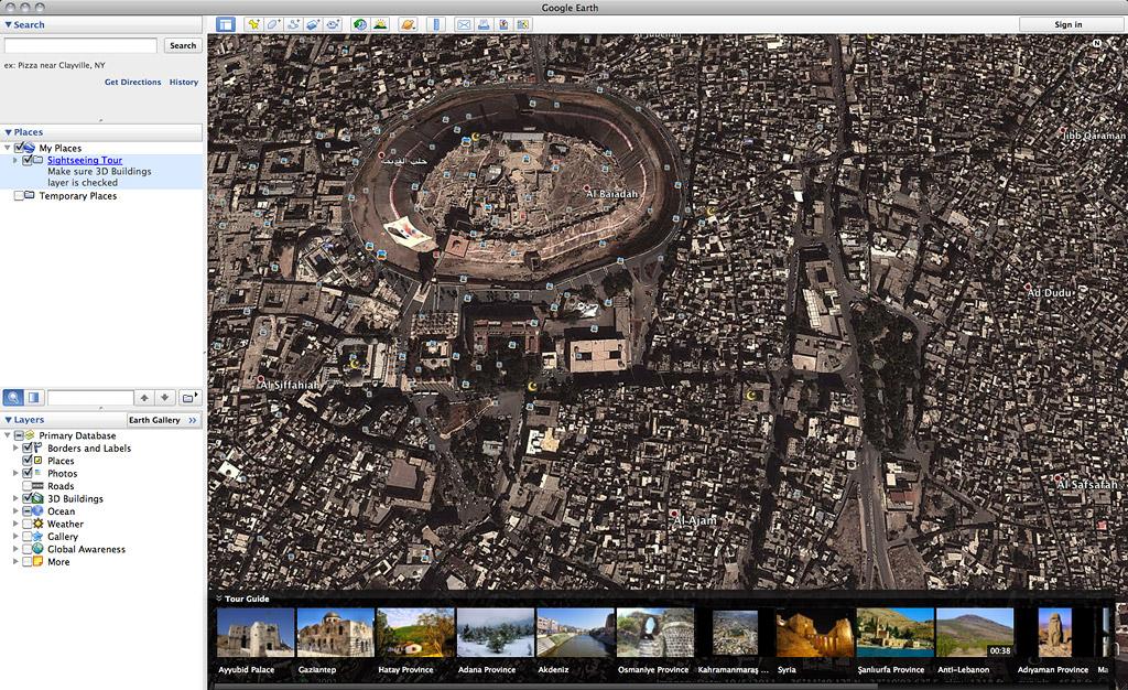 Google Earth view of Aleppo's Citadel
