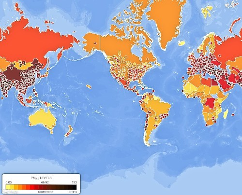 World air pollution.  (source http://epi.yale.edu/pollution-map/)