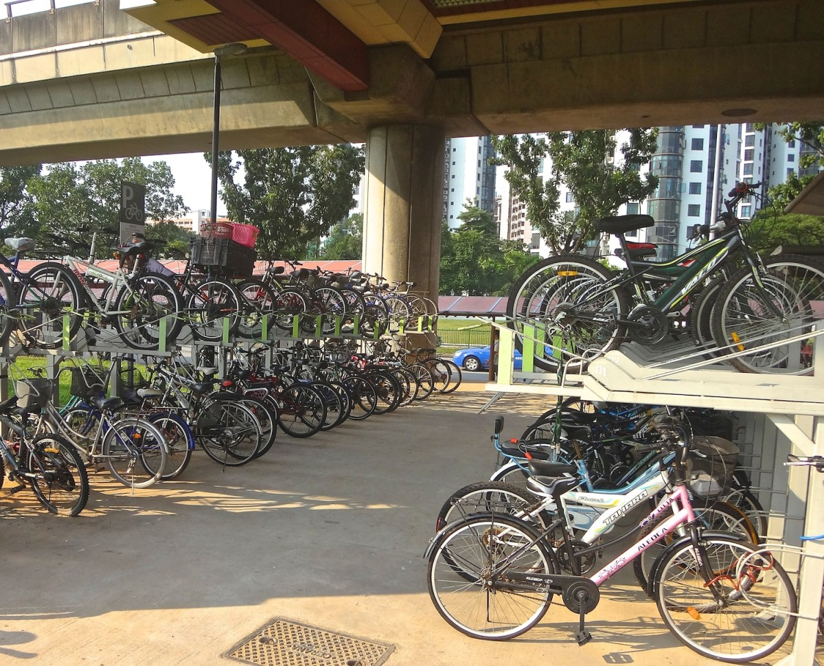 Cycle parking at Singapore MRT stations is often covered.