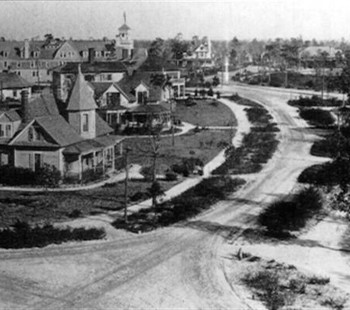 An early photograph of the Village of Pinehurst. Photo courtesy Village of Pinehurst.