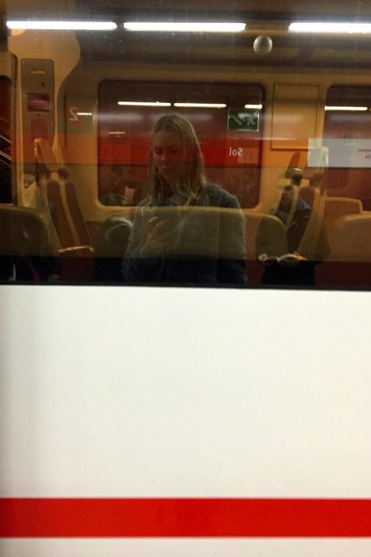 Zoe on the train