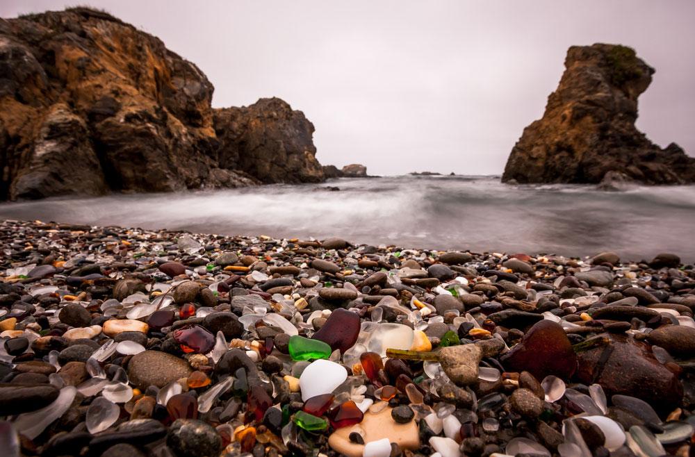 Photo of Glass Beach at Fort Bragg, California, by Aneta Waberska, courtesy Shutterstock.