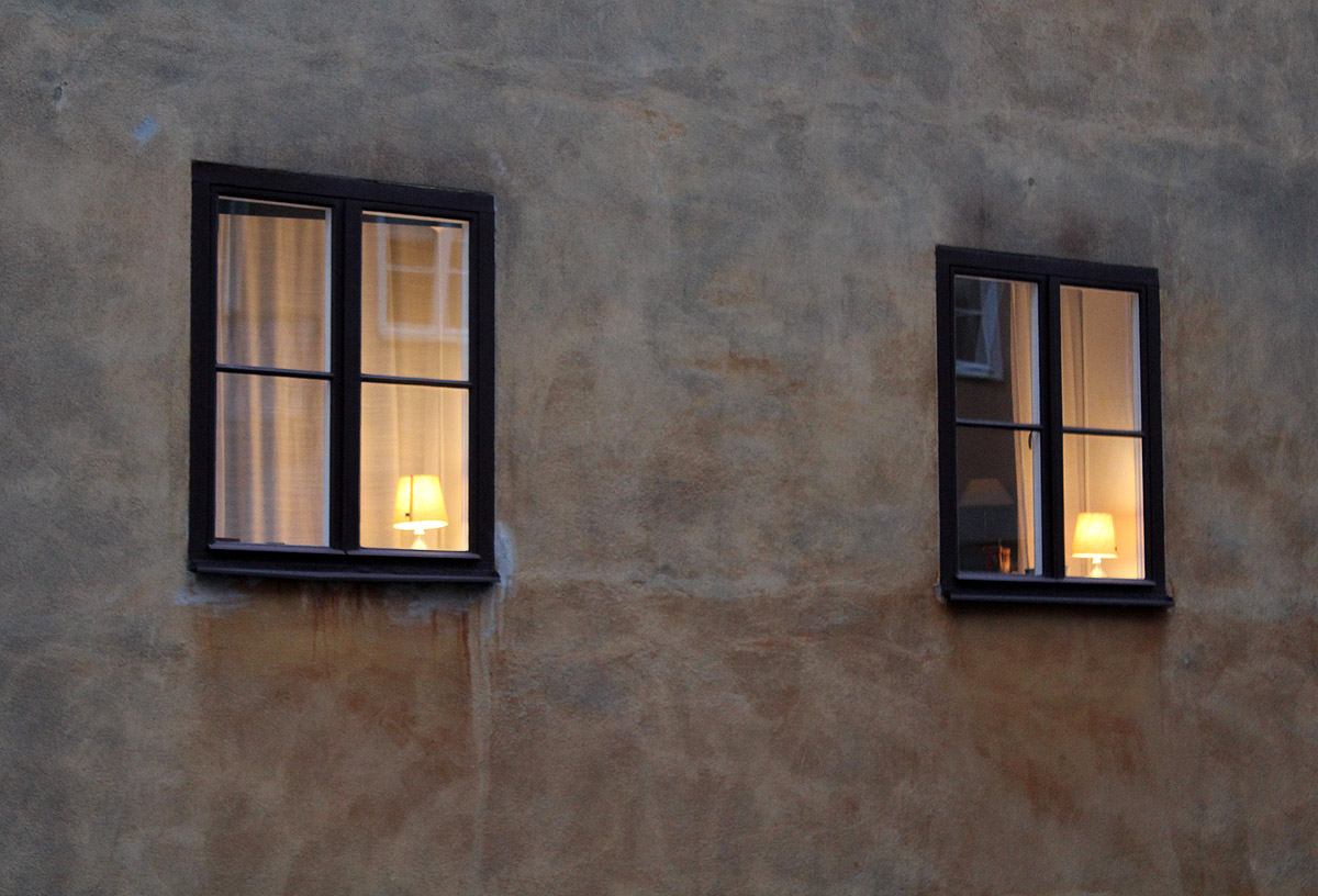 Windows with lamps