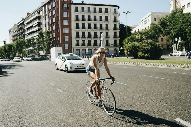 Zoe riding her bike in Madrid