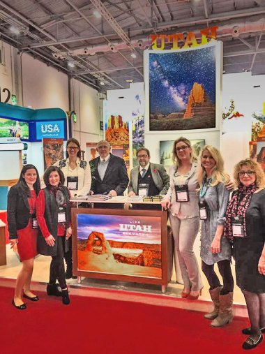Charlie DeLorme and colleagues at World Travel Market  in London