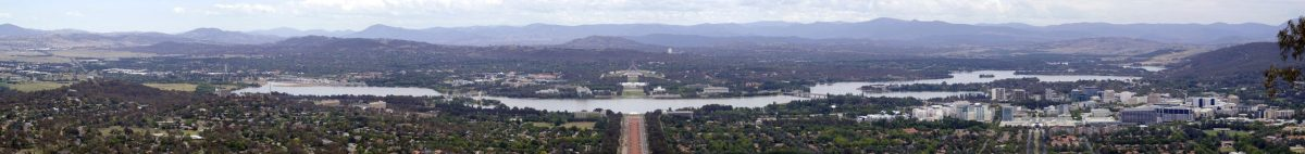 Lake Burley Griffin and Parliament House from Mt. Ainslie