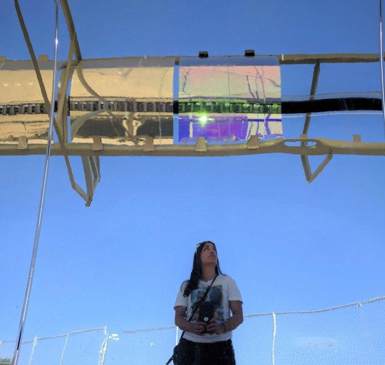 Liliana Ruiz Diaz reflected in parabolic main mirror
