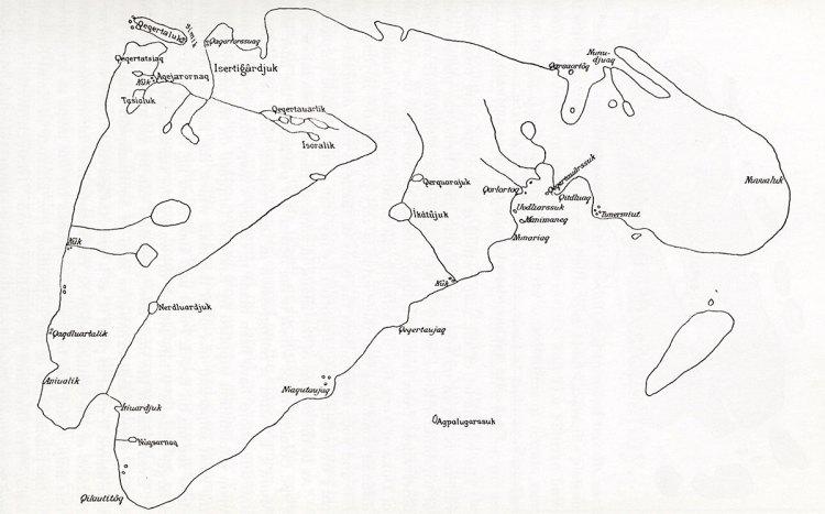 Map of Southampton Island drawn by Autdlanaq