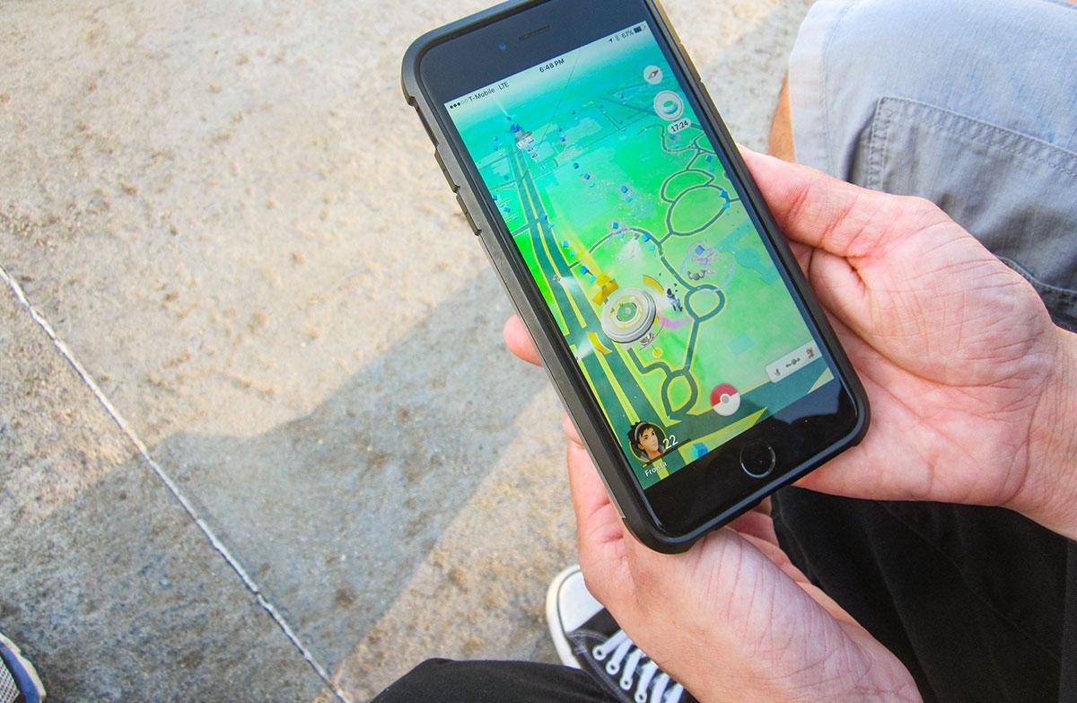 Pokemon Go player at La Brea Tar Pits